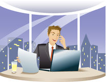 Financial adviser works overtime. Financial adviser using computer and talk on the phone, work at night in the office Stock Photos