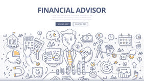 Financial Advisor Doodle Concept. Doodle  illustration of financial advisor giving advice on investment, saving money, managing money and planning ahead. Concept Stock Photos