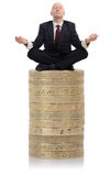 Financial Advisor guru. Financial Advisor sat on a stack of money Stock Photo