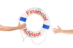 Financial Advisor life buoy ring reaching hands. An arm is reaching out to a Financial Advisor life buoy because he needs financial help and is drowning in debt Royalty Free Stock Image
