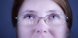 Financial advisor looking at monitors with charts. Royalty Free Stock Image