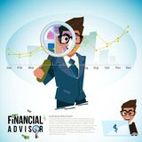 Financial advisor with magnifier and profit graph -. Financial advisor with magnifier and profit graph. logotype -  illustration Royalty Free Stock Photos