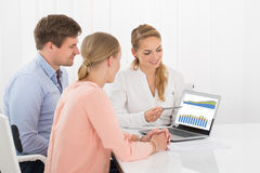 Financial Advisor Showing Chart To Couple. Financial Advisor Showing Investment Chart To Couple In Office Royalty Free Stock Photography