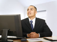 Financial Advisor Thinking In His Office Royalty Free Stock Image