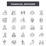 Financial advisors line icons, signs, vector set, outline illustration concept. Financial advisors line icons, signs, vector set, outline concept illustration royalty free illustration