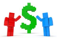 Financial advisory. Simple 3d cubic characters showing dollar symbol. financial advisory concept Stock Images
