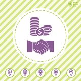 Financial  agreement and partnership vector icon. With handshake. Illustration on Flat design style Royalty Free Stock Image
