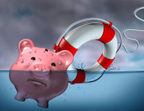 Financial Aid. And rescue from debt problems and keeping your investments above water represented by a drowning pink piggy bank sinking in blue water with a vector illustration