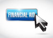 Financial Aid button sign concept Stock Photos