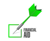 Financial Aid check dart sign concept. Illustration design graphic Royalty Free Stock Image