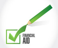 financial Aid check mark sign concept Stock Image