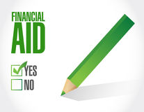 Financial Aid check mark sign concept Royalty Free Stock Images