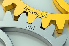Financial Aid concept on the gearwheels. Financial Aid concept on the metallic gearwheels Royalty Free Stock Photos