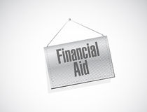 Financial Aid hanging banner sign concept Royalty Free Stock Photos