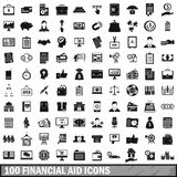 100 financial aid icons set, simple style. 100 financial aid icons set in simple style for any design vector illustration Stock Photo