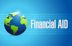 Financial Aid international globe sign concept. Illustration design graphic Royalty Free Stock Photo