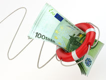 Financial aid. Life preserver and euro. 3d Royalty Free Stock Photo