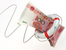 Financial aid. Life preserver and yuan. 3d Stock Images