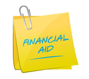 Financial aid memo post illustration. Design over a white background Royalty Free Stock Image