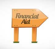 Financial Aid wood sign concept illustration. Design graphic Stock Photos