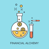 Financial Alchemy. Vector illustration of financial alchemy flat line design concept Royalty Free Stock Photos
