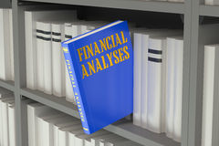 Financial Analyses concept on the bookshelf. Financial Analyses concept 3D on the bookshelf Royalty Free Stock Photo