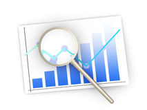 Financial analysis. Analyzing the financial situation. 3D rendered illustration. Isolated on white Stock Photo