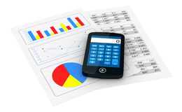 Financial analysis. One smartphone with a calculator application and 2 papers with spreadsheet and charts (3d render Stock Photo