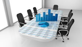 Financial analysis. One office room with bar and pie charts over the table (3d render Stock Image
