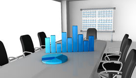 Financial analysis. One office room with bar and pie charts over the table (3d render Royalty Free Stock Photography