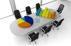 Financial analysis. One office room with bar and pie charts over the table (3d render Stock Images