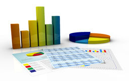 Financial analysis. Bar and pie charts and paper documents with spreadsheet and financial data (3d render Royalty Free Stock Photo