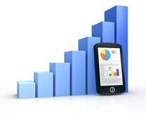Financial analysis. One growing bar chart and a portable device with financial data (3d render Stock Photos