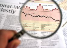 Financial Analysis. Hand holding a magnifying glass focusing on a chart in the business section of the newspaper Royalty Free Stock Image