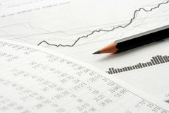 Financial accounting stock market graphs analysis Royalty Free Stock Image