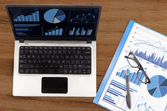 Financial analysis with business chart Stock Photography