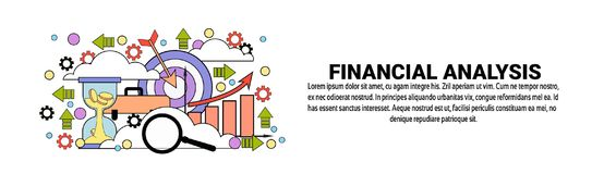 Financial Analysis Business Concept Horizontal Web Banner With Copy Space. Vector Illustration Stock Image