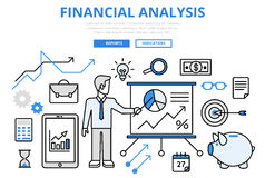 Financial analysis business report concept flat line art vector. Financial analysis business report finance graphic concept flat line art vector icons. Modern Royalty Free Stock Image