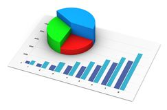 Financial Analysis Business Report Growing Pie Chart Graph. Successful financial report and growing business analysis data on diagram graph and pie chart 3D Stock Images
