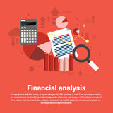 Financial Analysis Business Web Banner. Flat Vector Illustration Stock Photos