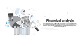 Financial Analysis Business Web Banner. Vector Illustration Stock Photos
