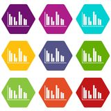 Financial analysis chart icon set color hexahedron. Financial analysis chart icon set many color hexahedron isolated on white vector illustration Stock Image
