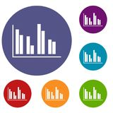 Financial analysis chart icons set. In flat circle reb, blue and green color for web Royalty Free Stock Photo