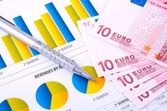 Financial Analysis  with charts. european currency Royalty Free Stock Photos