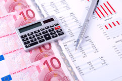 Financial Analysis with charts. european currency Stock Photos