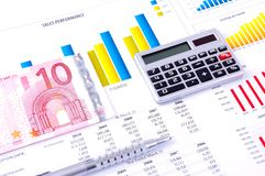 Financial Analysis with charts. European currency Royalty Free Stock Photography