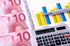 Financial Analysis with charts. european currency Royalty Free Stock Image