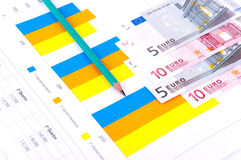 Financial Analysis with charts. European currency Stock Photography