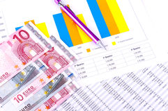 Financial Analysis with charts. European currency Royalty Free Stock Images