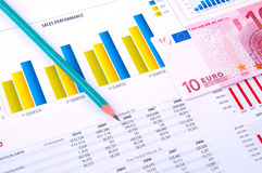 Financial Analysis with charts and money Stock Images
